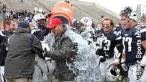 Shane Konop gets a shower from his defensive line